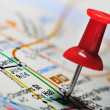 Thumbtack in a Map — Stock Photo #4218127