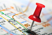 Thumbtack in a Map — Stock Photo