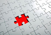 Missing puzzle piece, focus around the empty space. — Stock Photo