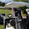 Two golf cart with clubs ready to go - Stock Photo