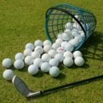 Basket of Driving Range Golf Balls — Stock Photo