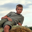 13 years old boy on a Bale of Hay in Field in Summer — Stock Photo #4229141