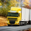 Truck driving on country-road/motion — Stock Photo #4229272