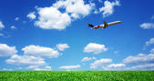 Airplane over grassy field — Stock Photo