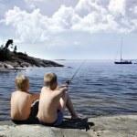 Two boys fishing — Stock Photo