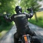 Lone motorbike rider — Stock Photo