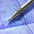 Pencil on blueprint — Stock Photo