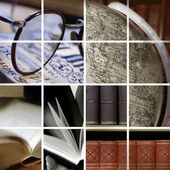 Collage of library ambiance — Stock Photo