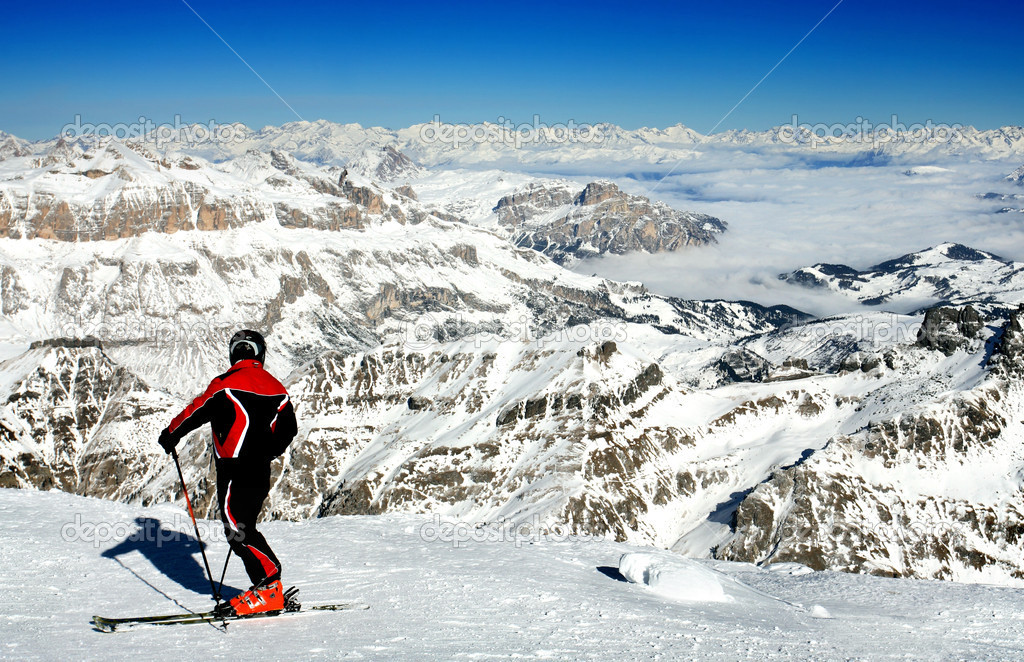 Ski resort Italy, Skier standing on Marmolada, 3342 m — Stock Photo #4231409