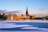 Winter in Stockholm with snow — Stock Photo