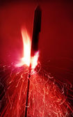 Close up shot of a firework ready to go, motion blur — Stock Photo