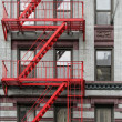 Red Fire Escape - Stock Photo