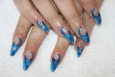Nailart (with oil on nail bed) — Stock Photo