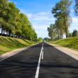 Black serpentine of asphalt road in sunny day. — Stock Photo