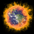 Real Earth Planet in space. In red fire. — Stock Photo #4435458