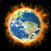 Real Earth Planet in space. Red fire sun. — Stock Photo