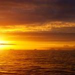 tramonto dorato nel mare Antartico — Foto Stock