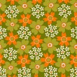 Stock Vector: 1970s retro seamless flower pattern