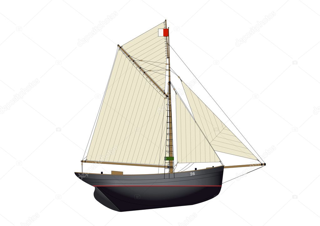Traditional bristol pilot cutter gaff rigged yacht circa 1800s — Stock Vector #4111071