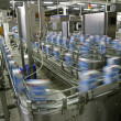 Foto Stock: Production line in modern dairy factory