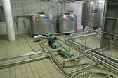 Temperature controlled pressure tanks and valves in factory — Stock Photo