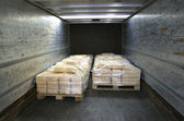 Manufactured cheese on pallets in back of truck — Stock Photo