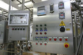 Industrial control system in modern dairy factory — Stock Photo
