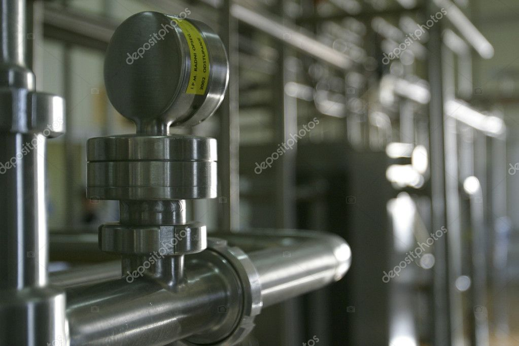 Industrial stainless steel pipe work and valve  Stock Photo #4158412