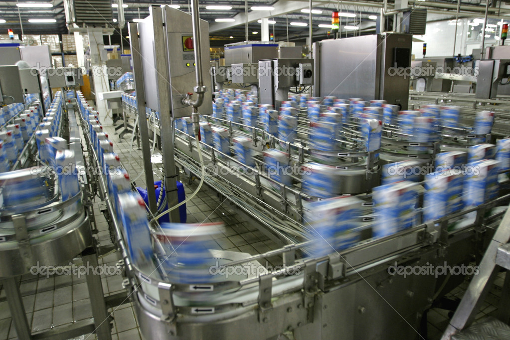 Automated production line in modern dairy factory  Lizenzfreies Foto #4158646