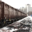 Trains in freight yard - Stock Photo