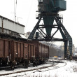 Trains in freight yard winter — Stock Photo