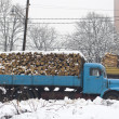 Old truck with firewood in the snow — Stock Photo