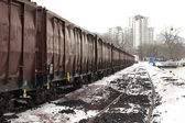 Trains in freight yard — Stock Photo