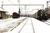 Treni in inverno cortile merci — Foto Stock
