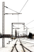 Railway yardr in the winter — Stock Photo