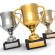 Isolated trophies, gold, silver and bronze — Stock Photo