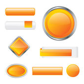 Glossy orange button set in different shapes — Stock Vector