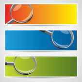 Vector banner set with magnifiers — Stock Vector