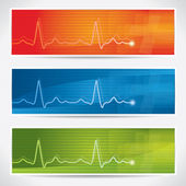 Vector cardiogram banner set — Stock Vector