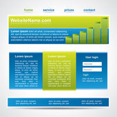 Blue and green website template in three main element — Stock Vector