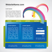 Editable web2 website template with abstract rainbow — Stock Vector