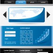 Editable vector website template - black and blue — Stock Vector