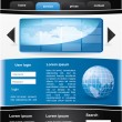 Stock Vector: Editable vector website template - black and blue