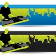 Party banners with a dj and crowd — Stock Vector