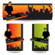 Party banner set with dj and crowd — Stock Vector