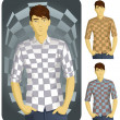 Man in Checkered Shirt Set-1 - Stock Vector