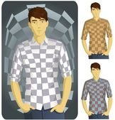 Man in Checkered Shirt Set-1 — Stock Vector
