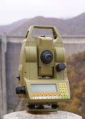 Measurements of deformation in ladrge dam wall — Stock Photo