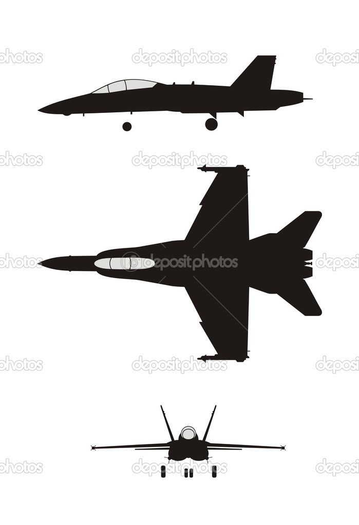Abstract vector illustration of jet fighter silhouette — Stock Vector #4273668