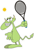 Devilkin tennis player — Stock Vector
